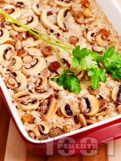 Запечен ориз с гъби печурки и лук в тава на фурна - снимка на рецептата